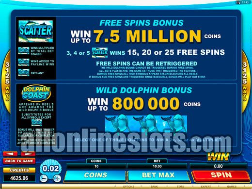 3125 Ways Slots Dolphin Coast By Microgaming