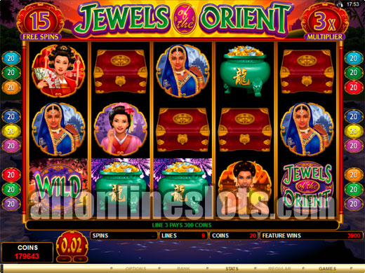 Nine Line Slots Jewels Of The Orient