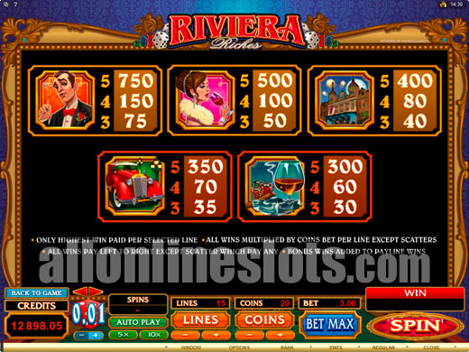 Riviera Riches™ Slot Machine Game to Play Free in Microgamings Online Casinos